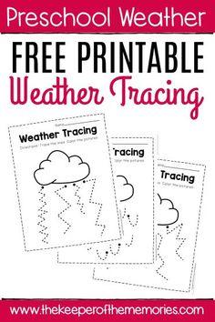 Free Printable Storm Clouds Tracing Weather Preschool Worksheets