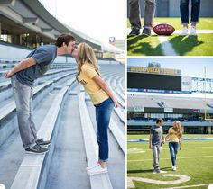 When you are as linked to football as these two are, it seems only fitting to incorporate it into your shoot!