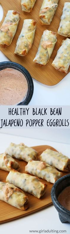 These healthy black bean jalapeño popper egg rolls are the perfect game day snack!