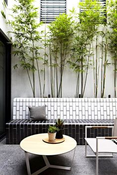 Modern Tile Outdoor Space A range of textures, from subway tile to concrete and stonework, cultivates a style that is found, organic and raw. Mix landscape elements in thoughtful ways. Add an dose of sculptural chic with architectural topiaries.