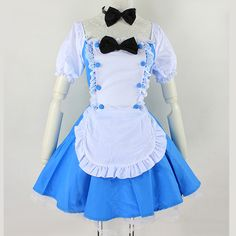 Halloween Cosplay Alice In Wonderland Inspired Blue Maid Dress Free Ship SP141220 #amazing #PlusSize