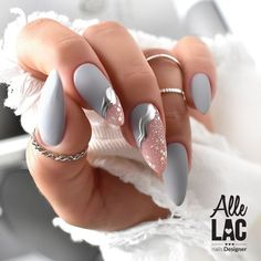 Romantic Nails, Elegant Nails, Classy Nails, Gray Nails, Pink Nails, Pink Chrome Nails, Chrome Nail Art, Almond Acrylic Nails, Best Acrylic Nails