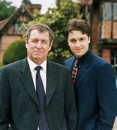 """Midsomer Murders"" long running murder mystery series on PBS - always a favorite! This photo shows the main star John Nettles as DCI Tom Barnaby and his original partner Daniel Casey as Sgt. Gavin Troy. The show is still in production, but with some new cast members."