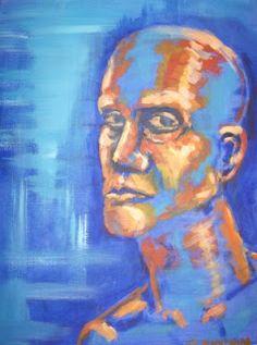 Hier zie je duidelijk een complementair contrast. Blauw en oranje staan recht tegenover elkaar in de kleurencirkel wat het een complementair contrast maakt. Ook is het een soort van licht donker contrast. Dit komt door de warmere kleur oranje en de koude kleur blauw. Door deze blauwe achtergrond springt het oranje gezicht op voorgrond er echt uit.