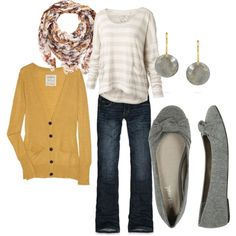 """""""Yellow Cardigan"""" by lindsey-gray on Polyvore. A shade of yellow I might actually be able to pull off."""