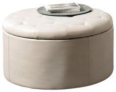 Coaster Landen 5 Piece Round Leather Storage Tail Ottoman In