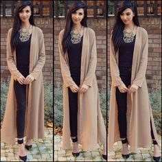 I'm loving this maxi cardigan from ya'll know I love my long style outfits, they look modest & classy and make such a statement! Hope you're all well In'Sha'Allah love you all! Indian Fashion Dresses, Ethnic Fashion, Pakistani Dresses, Asian Fashion, Indian Outfits, Hijab Fashion, Fashion Outfits, Classy Fashion, Party Fashion