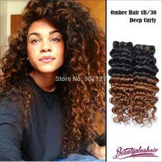 6A BeautyplusHair Brazilian Virgin Hair Deep Wave Ombre Hair Extensions 3Pcs TwoTone 1b/30 Ombre Brazilian Hair Free Shipping