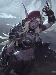 Sylvanas windrunner - world of warcraft by gantzu on DeviantArt World Of Warcraft Characters, Fantasy Characters, Dark Fantasy Art, Fantasy Girl, Fantasy Women, Wow Elf, Lady Sylvanas, Warcraft Art, World Warcraft