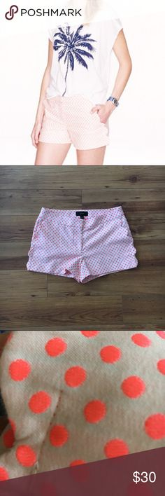 J. Crew Shorts Neon pink and greige scallop-pocket shorts from J. Crew. Needs a simple stitch on one pocket but other than that, they're like NEW with back pockets still closed. Cute with tights and a black sweater or with a tank and wedges. J. Crew Shorts