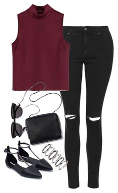"""Sin título #5193"" by marym96 ❤ liked on Polyvore featuring Topshop, Zara, M.N.G and Yves Saint Laurent"