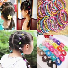 100pcs Elastic Rope Women girls Hair Ties Ponytail Holder Head Band  Hairbands Be  unbranded   4b8a6581400