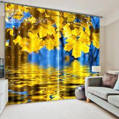 Shining Golden Leaves Light Blocking 3D Curtain on sale, Buy Retail Price 3D Scenery Curtains at Beddinginn.com