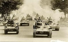 tanks of the 1st Tank Regiment on parade in tokyo (1942)