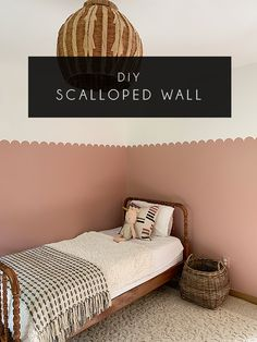 How To Paint A Scalloped Wall - Gender Neutral Painted Feature Wall, Half Painted Walls, Half Walls, Pink Feature Wall, Pink Accent Walls, Accent Wall Bedroom, Wood Bedroom, Pink Bedroom Walls, Room Wall Painting
