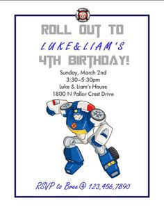 Transformers Rescue Bots Chase Custom Birthday by HGMartistry, $9.00