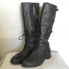 """Black Leather riding boots, Lands End Canvas Soft black leather strappy knee length boots from Lands End (their old Canvas brand). Decorative straps on the outside, full length zipper on the inside. 3/4"""" heel make these comfy for everyday wear. These will accommodate a larger calf. Lands' End Shoes Heeled Boots"""