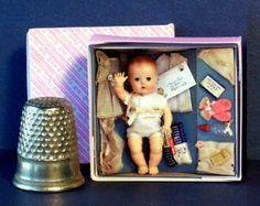 Tiny Tears Layette Doll Box 1950s -  Miniature 1:12 scale - nursery toy
