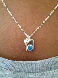 Silver Heart Necklace Turquoise Handmade Charm by PABJewellery