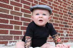 Tattoo sleeve onesie shirt summer baby boy baby photo Fabric tutu, so darn cute! Cute Kids, Cute Babies, Baby Kids, Baby Boy, Funny Kids, Insane Tattoos, Cool Tattoos, Tasteful Tattoos, Awesome Tattoos