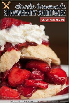 Classic Strawberry Shortcake, made with fresh strawberries, homemade biscuits, and whipped cream is the easiest and most perfect summer dessert! Never again will you make this summer dessert recipe with store bought pound cake. Once you make these simple sweet biscuits, this will be your favorite summer recipe ever! Don't forget to make the homemade whipped cream too.