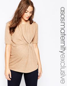 Image 1 ofASOS Maternity T-Shirt With Twist Knot Detail In Neppi