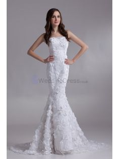 Satin and Lace Strapless Sweep Train Mermaid Embroidered Wedding Dress