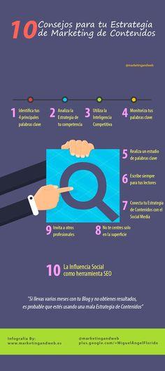 10 consejos para tu estrategia de marketing de contenidos. Infografía en español. #CommunityManager