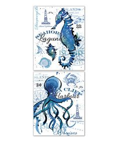 Another great find on #zulily! Blue Ocean Life Typographic Panel - Set of Two #zulilyfinds