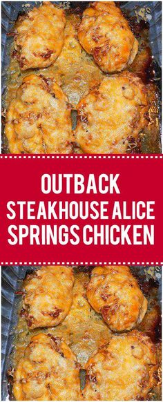 Outback Steakhouse Alice Springs Chicken - Have you ever tried this amazing chicken dish? It's one of the most beloved dinners on Outback's menu. With bacon, melted cheese, and a creamy mustard sauce, this chicken dish is out of this world. Turkey Recipes, Meat Recipes, Cooking Recipes, Zoodle Recipes, Casserole Recipes, Chicken Casserole, Dinner Recipes, Copycat Recipes, Delicious Chicken Recipes