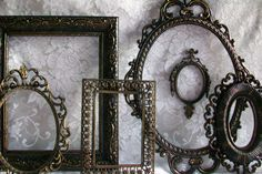 Black Frames, Ornate Frame Set, Vintage Picture Frames, Shabby Chic, Victorian, Gothic, Black & Gold Distressed, Wall Gallery, Wedding Decor. $98.00, via Etsy.