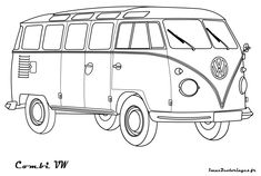 VW Bus Coloring Pages Printable. VW bus is the second line of the motor vehicle presented by the German car manufacturer Volkswagen, in Truck Coloring Pages, Free Coloring Sheets, Colouring Pages, Coloring Books, Bus Drawing, Car Drawings, Volkswagen Bus, Tattoo Oma, Magic School Bus