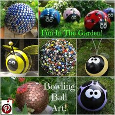 Ideas For Yard Art Diy Lawn Ornaments Bowling Ball Bowling Ball Ladybug, Bowling Ball Crafts, Bowling Ball Garden, Bowling Ball Art, Garden Balls, Backyard Projects, Garden Projects, Backyard Ideas, Art Projects