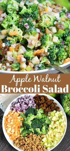 The BEST Broccoli Salad. This broccoli salad is made with apples walnuts raisins cheese crumbles and red onions. A perfect addition to picnics potlucks and outdoor parties. Apple Broccoli Salad, Brocolli Salad, Broccoli Salad With Cranberries, Vegetable Salad, Broccoli Recipes, Broccoli Salad With Cheese, Spinach Salad, Best Salad Recipes, Vegetarian Recipes