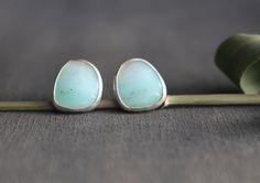 Seascape Peruvian Opal Sterling Silver Post Stud Earrings by ArtistaTree Emily Miller ETSY