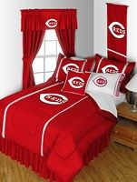 Cincinnati Reds Bedding in official team colors of red, white, and black with logo for the die hard MLB Cincinnati Reds baseball team fan.