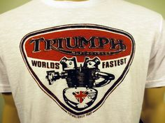 Lucky Brand ~ Triumph Motorcycle ~ Worlds Fastest White  Shirt Large New