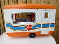 Vintage 1970s Sindy Doll Caravan Orange Retro   Doll Not Included