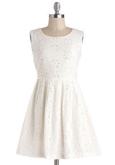 Passing Glances Dress - Cream, Solid, Eyelet, Casual, A-line, Sleeveless, Cotton, Short, Pearls, Cutout, Daytime Party