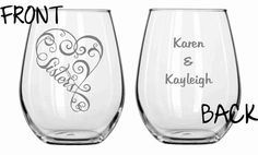 Sisters GLass Set of 2    Chose from Wine Glass, Pilsner, Beer Mug, Rocks, Pub Glass, Stemless WIne Sandcarved   Personalized for FREE