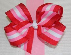 Extra Large Valentine Stripe Grosgrain Hair Bow $5.75