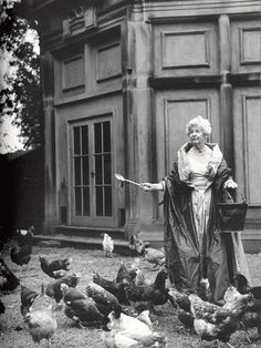 """The Duchess of Devonshire has always loved chickens. The family chickens were the childrens' way of accruing pocket money. Debo would often be found in the coop, trying to imitate the various chickens voices. From this, she and her sister developed a secret language ""honnish"" so called not because the girls were ""Hons"" or ""Honourables,"" but on the word ""hen."". Nuts, but not the most eccentric of the five Mitford sisters, by any means!"" The Hennery- chicken holiday home on Facebook."