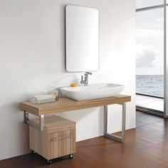 """59"""" Applewood Balcatta Wall Mount Console Vanity Cabinet with Vessel Sink and Mirror"""