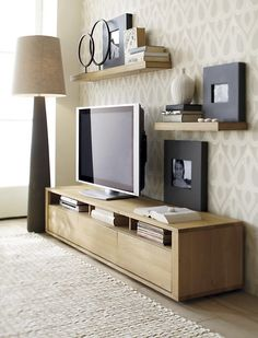 "Bristol media console and Bristol Wall shelves from Crate and Barrell (55"" and 28"" shelves, 8.5"" deep, 2"" thick)"