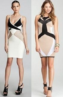 Herve Leger color block bandage dress 1250.00$ vs BEBE color block dress 109.00$? Thats 1/10th of the price!!!   Which one would you go for?