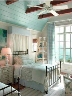 coastal bedrooms in blue and grey Attic Bedrooms, Coastal Bedrooms, Dream Beach Houses, Classic Living Room, Beach House Decor, Home Decor, Coastal Cottage, Coastal Decor, Cool Rooms