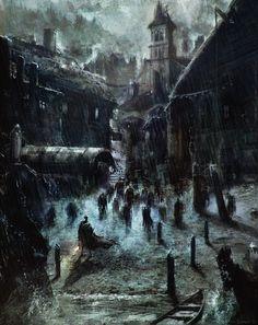 weirdletter: H.P. Lovecraft's Innsmouth, by Sebastien Ecosse, via sebastienecosse.blogspot.com.