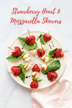 These caprese-inspired skewers with strawberry hearts are the perfect festive snack for Valentine's Day! Add fresh basil and a drizzle of balsamic reduction for a flavor-packed appetizer. Valentine's Day Quotes, Appetizer Dips, Appetizer Recipes, Strawberry Hearts, Strawberry Wedding, Mozzarella, Balsamic Reduction, Valentines Day Food, Fresh Basil