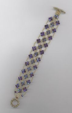 right angle weave bracelet with Austrian crystals