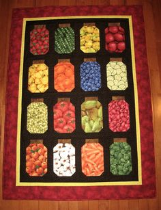 Mason Jar quilt - Oh my! I ADORE the veggie and fruit fabrics....I'll need to make this puppy!